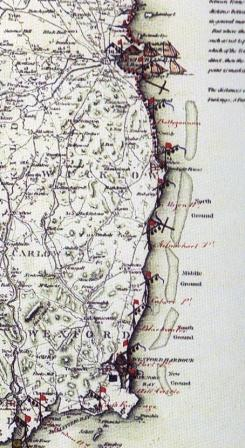 1804 chart of Wicklow and Dublin with sandbanks and 'Grounds'