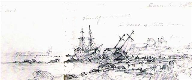 Sketch of stranded brigs Fame and Larch at Sandycove
