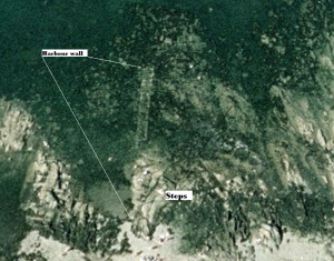 Google image of abandoned sea wall underwater at Sanycove