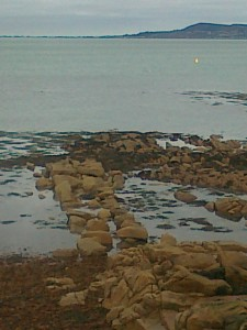 Abandoned harbour wall, low water at Sandycove