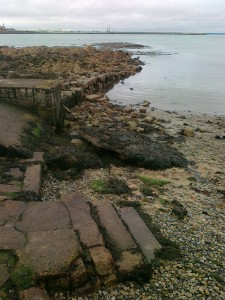 A second abandoned sea wall nearby and some later steps.