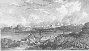 1820 Watercolour by Petrie showing one or more sailing vessels within harbour walls at Sandycove