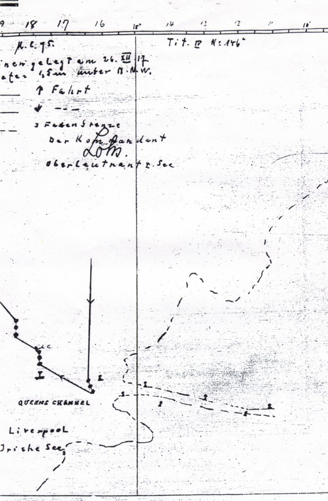 Extract from log of UC75 showing how mines were laid across the Liverpool Bar and sank the Alfred H Read