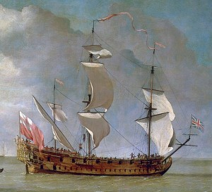 A depiction of a late 17th century British galley, the HMS Charles