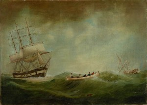 Painting by W. Parkes of the rescue by the Ann E. Hooper of the Ouzel Galley from Dublin. Presented to Captain W.Hooper. All rights of reproduction held by Mariners Museum USA.