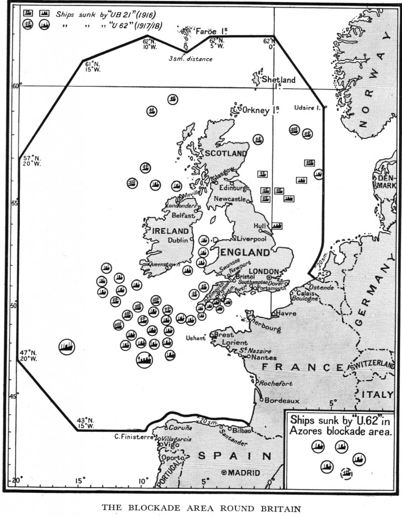 U62 and U21 sink ships in the Blockaded areas and Approaches