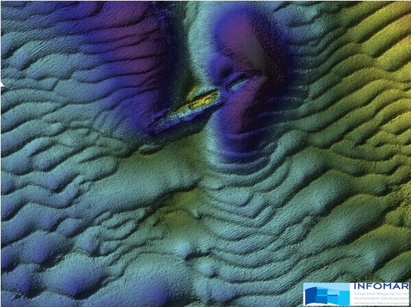 A multibeam sonar image of the wreck of the W M Barkley. Courtesy of Infomar.