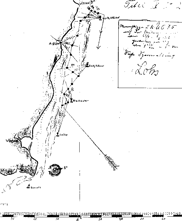 A chart showing mines layed by UC75 off WicklowArklow in 191