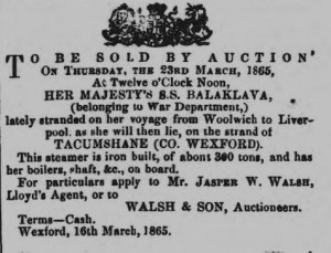 Wreck Auction notice for HM SS Balaklava at Tacumshane
