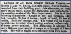 Launch of iron screw steamer, Balaclava, at Smiths on The Clyde, 1856