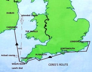 Route of Ceres's final voyage.