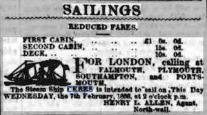 Last Advert for a voyage on Ceres