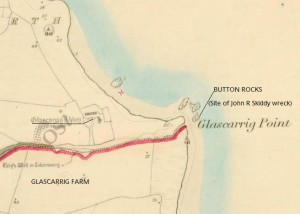 Glascarrig Monastry & site of J R Skiddy wreck