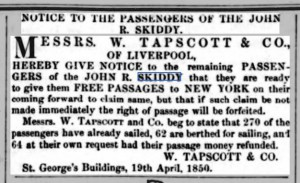 Tapscott offer of free passage