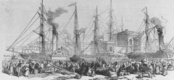 Emigrants boarding paddle steamer, Liverpool, 19th century