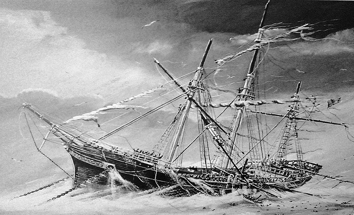 Painting of the emigrant ship POMONA by B.K.Cleare
