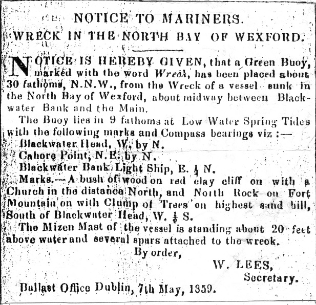 Wreck Buoy notice for Pomona, submitted by the Ballast Board in Dublin.