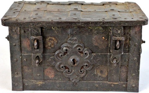 18/19th century iron money chest.
