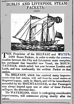 Advert for the paddle steamer Waterloo