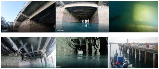 Images of decaying layers of 'add-ons'. With sound Victorian granite block laying above water and unusual 'stepped' method beneath, at the Old Packet Pier. Images by the 'well known diver', J.P.