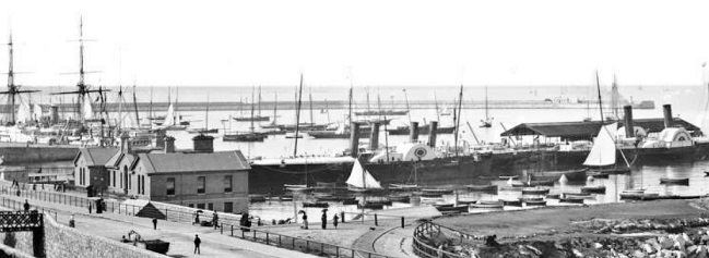 Gibbons/Carlisle pier not long after completion. HMS Himalaya to left background.
